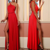 Sexy Split Front Backless Sashes Maxi Party Dress One Shoulder Sleeveless Floor Length Off Shoulder Long Night Club Dress