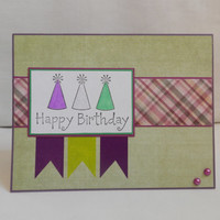 Birthday Card, Paper Handmade Greeting Card, Happy Birthday, Card Shop, Blank Card, Birthday Hats, Birthday Celebration, For her, Green