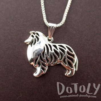Detailed Collie Shetland Sheepdog Shaped Cut Out Pendant Necklace in Silver