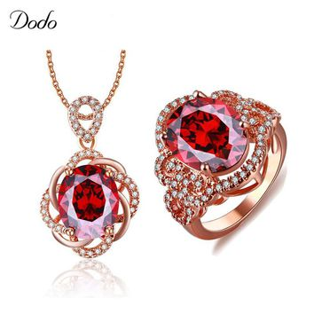 Dodo Classic Women Jewelry Sets Red Color Big Crystal CZ Stone Bridal Jewelry Set Ring and Necklace For Valentine's Gifts S20