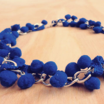 Royal Blue Pom Pom Necklace