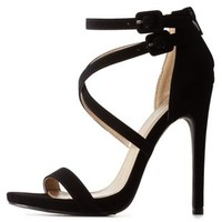 Black Qupid Crisscross Ankle Strap Heels by Qupid at Charlotte Russe