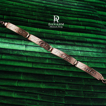 Egyptian Nameplate Bracelet, Rose Gold Plated, Silver, Personalized Name in English & Arabic Engraved Letters, 4 Name, Slim, BR013C