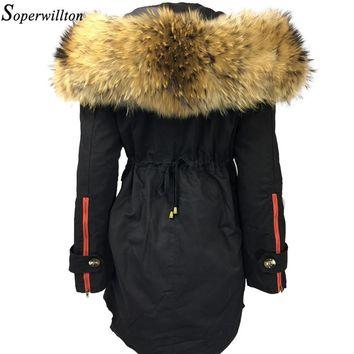 Large Fur Hooded Parka Women 2017 New Winter Jackets Fur Trim Coat Luxury Real Raccoon Furs  Ladies Coats 3 In 1 Detachable #B2