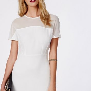 Missguided - Madeleine Mesh Cap Sleeve Bodycon Dress White