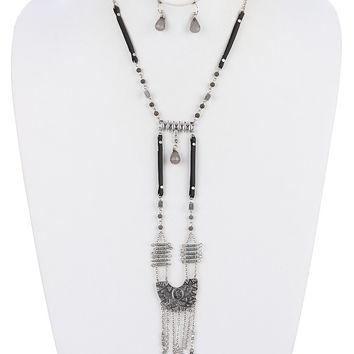 Aged Finish  Chain Fringe Hammered Textured Faux Leather Str Necklace Earring Set
