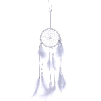 53cm Handmade Dreamcatcher White Feather Indian Dream Catcher Wall Hanging Home Car Decoration Crafts