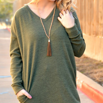 Keep In Touch Tunic - Olive