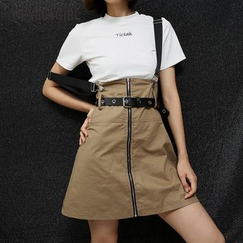 HEYounGIRL Buckle Strap Suspender Skirts Womens High Waisted A-line Casual Short Mini Skirt Bib Overalls Harajuku Preppy Style
