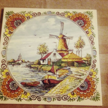 Vintage Delft Windmill Color Tile Crown Stamp-Signed Made in Holland