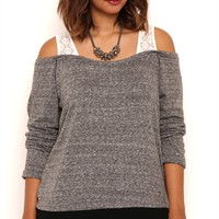 Plus Size French Terry 2fer Off the Shoulder Top