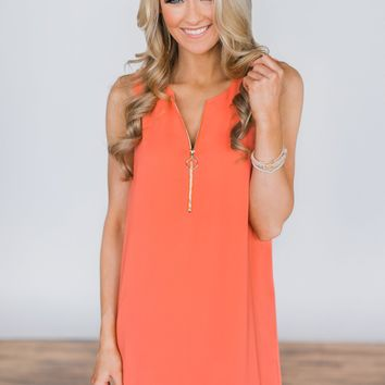 One True Love Zipper Dress ~ Salmon