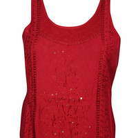Sexy Back Red Top Sequin Work Embroidered Sleeveless Boho Style Scoop Neck Gypsy Tops