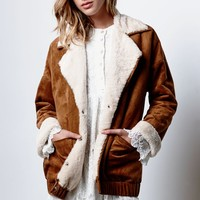 Honey Punch Faux Sherpa Faux Suede Coat - Womens Jacket - Brown