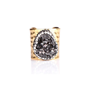 MAGNOLIA BLACK DRUZY RING