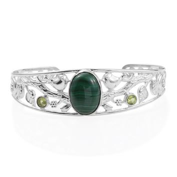 Malachite and Peridot Platinum Bond Brass Cuff Bracelet