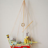 Red sailboat sculpture, Greek wooden sailboat , wall folk art  sculpture, one of a kind