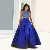 vintage royal blue 2 piece prom dresses with slit 2016 hit sale high neck a line women pageant gown for formal evening party