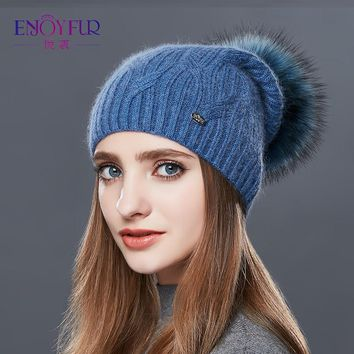 Cashmere Women Knitted Pompom Beanies Winter Hats