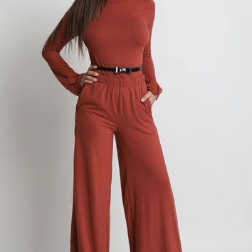 Bow Belt Mock Neck Top With Palazzo Pants Set | UrbanOG