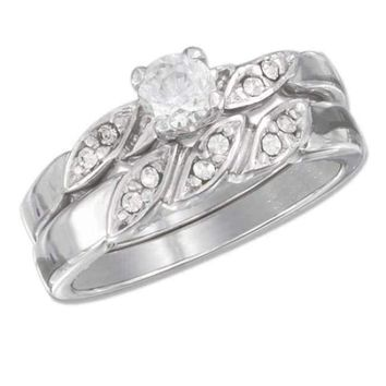 Sterling Silver 4.5mm 1/2 Carat Cubic Zirconia Twisted Pave Shank Wedding Band Set