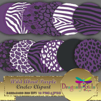 "80% OFF Sale WILD About Purple 8"" Clip Art, commercial use, digital scrapbook papers, vector graphics, printable, Instant Download,"