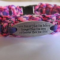 You're Braver Than You Believe Charm Paracord Bracelet - handmade