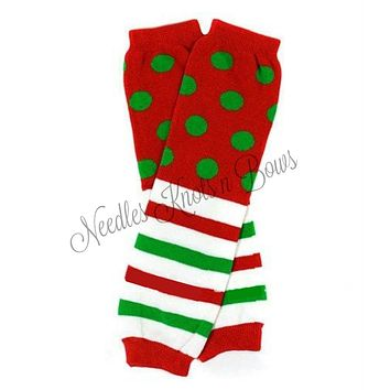 Christmas Leg Warmers, Red Polka Dots and Stripes, Baby Boys or Girls Legwarmers