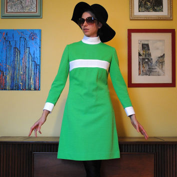 Mod Dress Women Vintage Bright Green Carole King 1960s