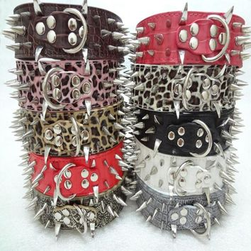 Big Dog Collar Pet Accessories Spiked Studded PU Leather Dog Collar Perro Led Pet Collars And Leashes Mascotas Collares Perros