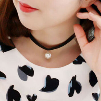 Black Faux Pearl Embellished Satin  Choker Necklace