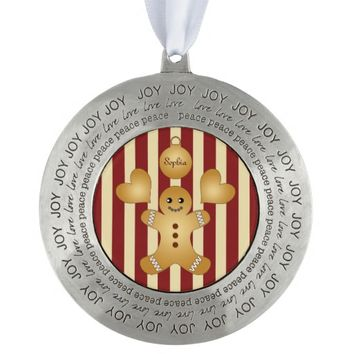 Christmas Holiday Cookies Red Striped Round Pewter Christmas Ornament