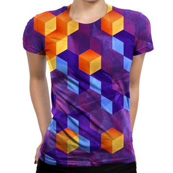 Cubed Purple Womens T-Shirt