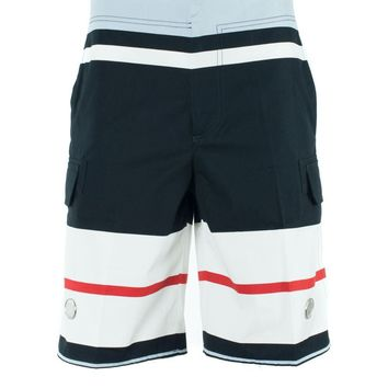 Givenchy Men's Cotton Colorblock Striped Swim Shorts