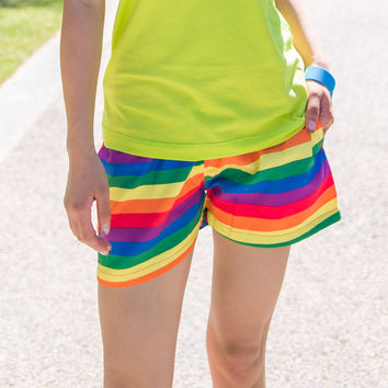 Quick-drying Rainbow Navy Stripes Short