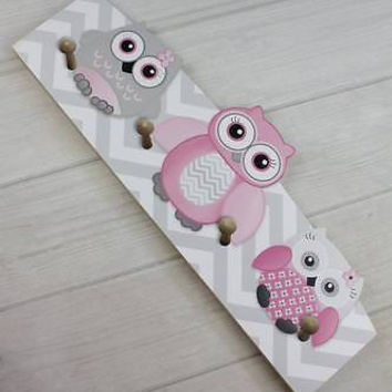 Pink and Gray Owls Wooden CLOTHES PEG Rack Bathroom Bedroom CR0007