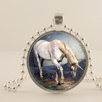 White Unicorn fantasy glass and metal Pendant necklace Jewelry.