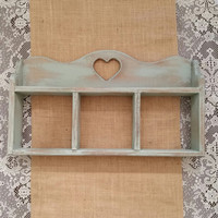 Heart Shelf, Blue Painted Shelf, Hanging Wood Shelf, Annie Sloan Duck Egg Chalk Painted Shelf, Wall Hanging Shelf, Shabby Chic Heart Shelf
