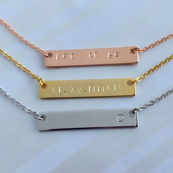 Rose Gold Silver Bar Necklace, One-of-a-kind Gift, Roman Numerals Necklace, Couple Necklace, Mom Sister Aunt Gift, Name Necklace
