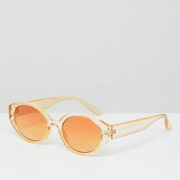 ASOS Fine Frame Oval Fashion Sunglasses In Tonal Yellow Frame & Lens at asos.com