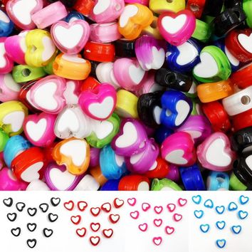 8mm 150 PCS Mixed Color Glossy Heart Acrylic Jewelry Making Charm Spacer Beads