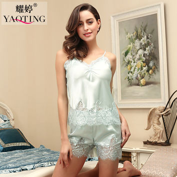 New Summer Silk Satin Pajamas Pyjama Sets Sexy Lace Robes Bathrobes For Women Highgrade Pijamas Nightgown Night Gown DT108
