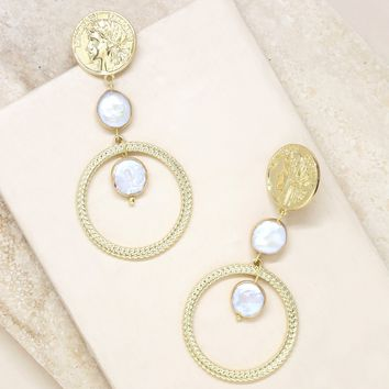 Your Majesty Coin & Pearl Drop Earring in Gold