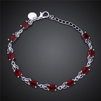 Red Crystal Stone Chain Bracelet
