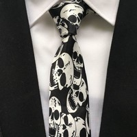 5cm Popular Men Casual Narrow Ties Fashion Printed Necktie Big Skull Notes Gravata