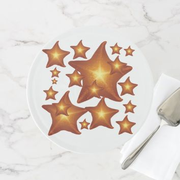 Shining Starfish bright orange design Cake Stand