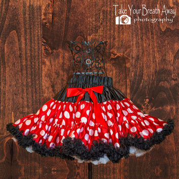 Minnie Pettiskirt - Petticoat - baby tutu- Skirt - Pettiskirt - red and white polka dot pettiskirt - Photo Prop - disney inspired