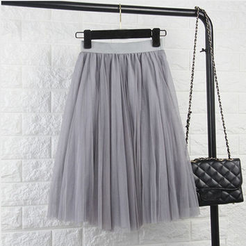 Tulle Skirts Womens Black Gray White Adult Tulle Skirt Elastic High Waist Pleated Midi Skirt 2016