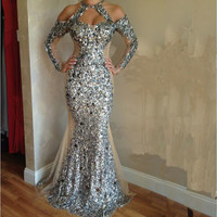 2016 Sexy Halter Neck Long Sleeve Evening Dress High Quality Black Prom Dresses Unique Sequin Mermaid Prom Dress Vestidos Largos