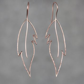 14k rose gold filled leaf feather hammered texture wiring earrings Bridesmaid gifts Free US Shipping handmade Anni designs